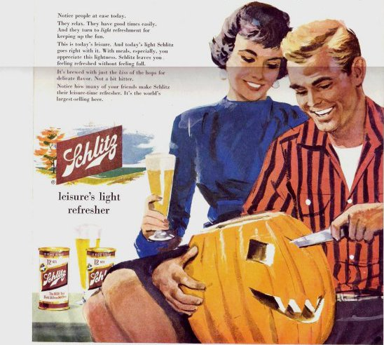 vintage schlitz ad advertisement couple carving pumpkins