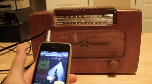 DIY homemade old times radio turned into mp3 speaker.