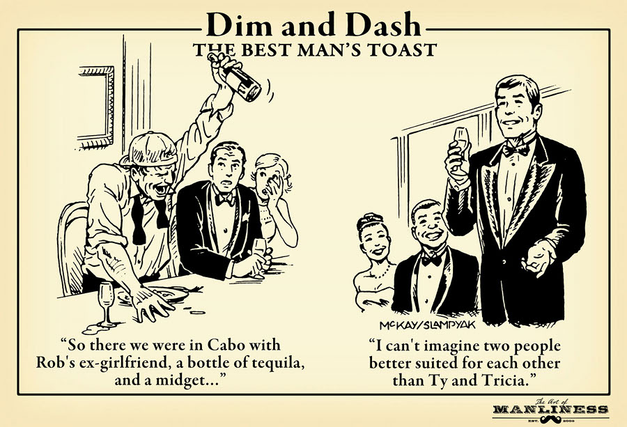 best men's toast wedding etiquette illustration