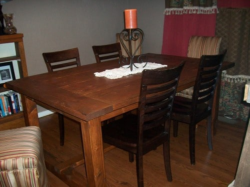 Homemade dining table with 4 chairs.