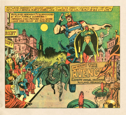vintage avengers comic parading in small town