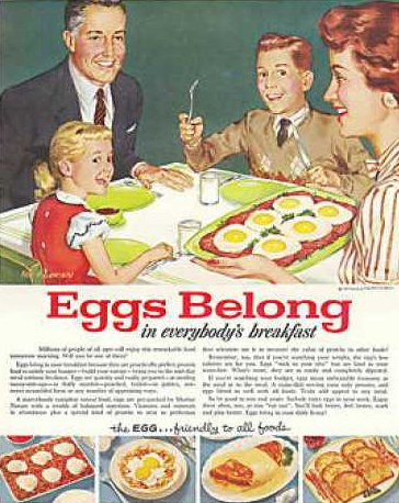 Vintage family having eggs breakfast advertisement illustration.