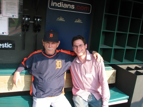 jim leyland detroit tigers manager dugout with fan