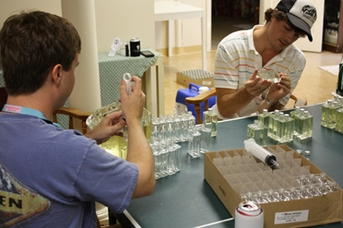 moonshine cologne bottling process basement of house
