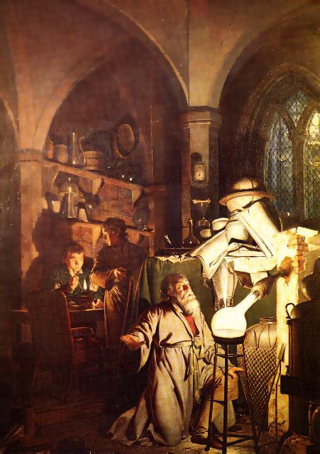 joseph wright alchemist in study working illustration