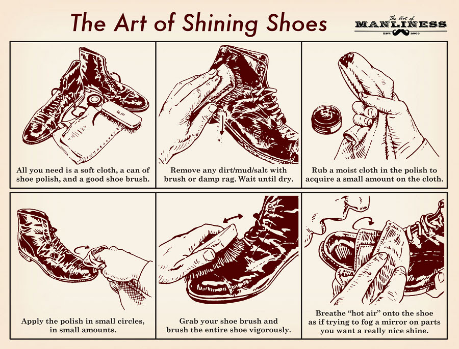 "All you need is a soft cloth, a can of shoe polish, and good shoe brush.  Remove any dirt/mud/salt with brush or damp rag. Wait until dry.  Rub a moist cloth in the polish to acquire a small amount on the cloth.  Apply the polish in small circles, in small amounts.  Grab your shoe brush and brush the entire shoe vigorously.  Breathe ""hot air"" onto the shoe as if trying to fog a mirror on parts you want a really nice shine."