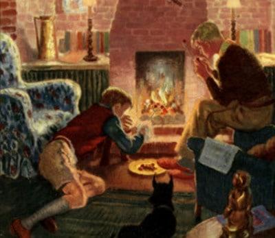 Vintage boys roasting chestnuts in fireplace illustration.