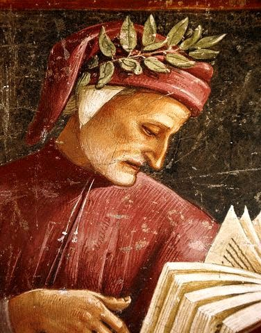 dante painting wearing red leafing through book