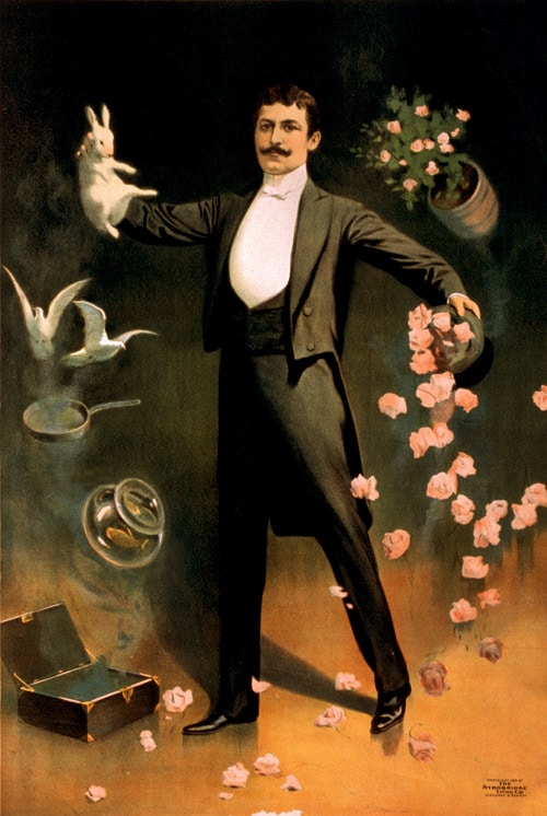 Vintage magician putting out rabbit from hat illustration.