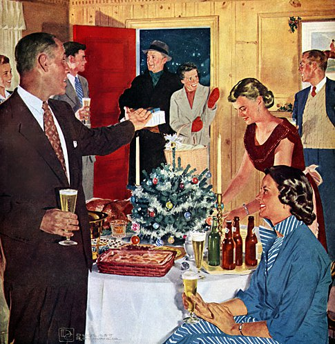 vintage 1950s holiday party guests entering home illustration