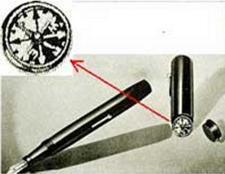 fountain pen with concealed compass spy tool