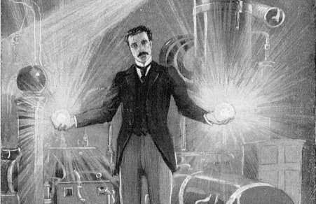 nikola tesla holding light bulbs illustration drawing