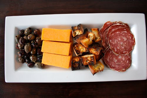 appetizer tray olives cheese salami antipasti