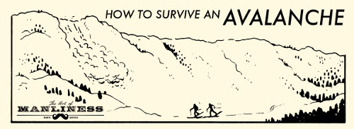 how to survive an avalanche illustration skiers on hill