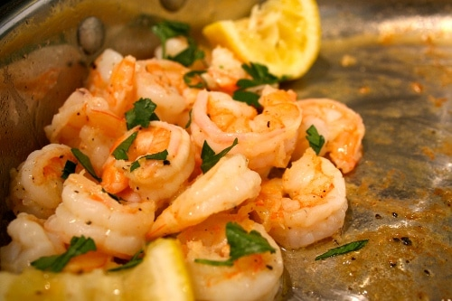 sauteed shrimp lemon in pan appetizer for party