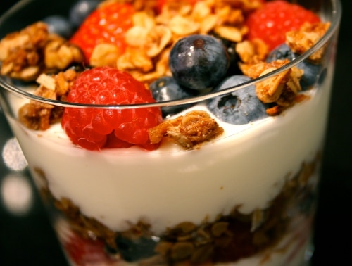 yogurt and fruit parfait in glass dessert for party