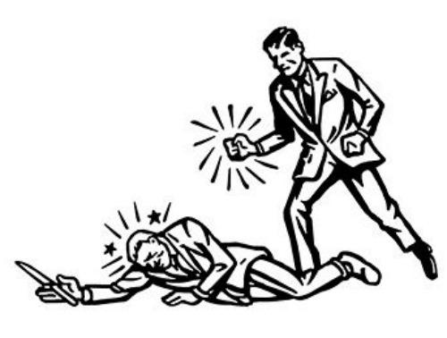 Illustration citizen in suit knocking down the attacker.