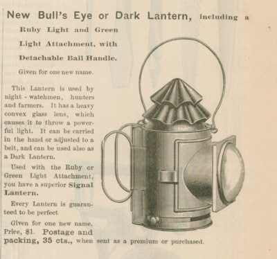 bull's eye dark lantern vintage ad advertisement