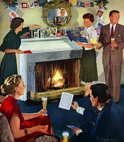 vintage party guests looking at holiday cards on mantle