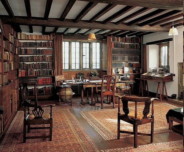 Vintage library Rudyard Kipling's study room illustration.