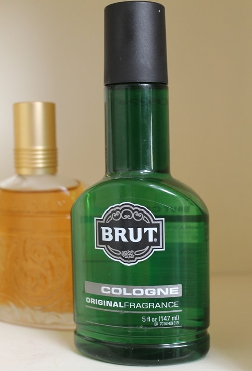 Brut men's cologne fragrance green bottle.