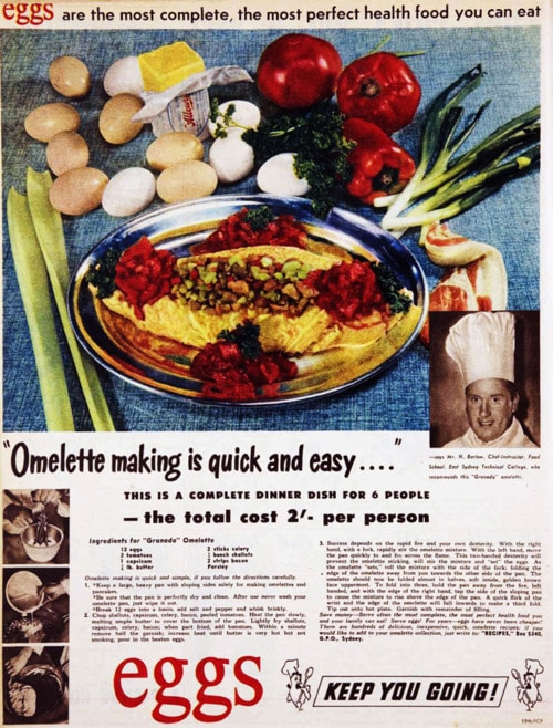 Vintage comic guide how to make omelets.
