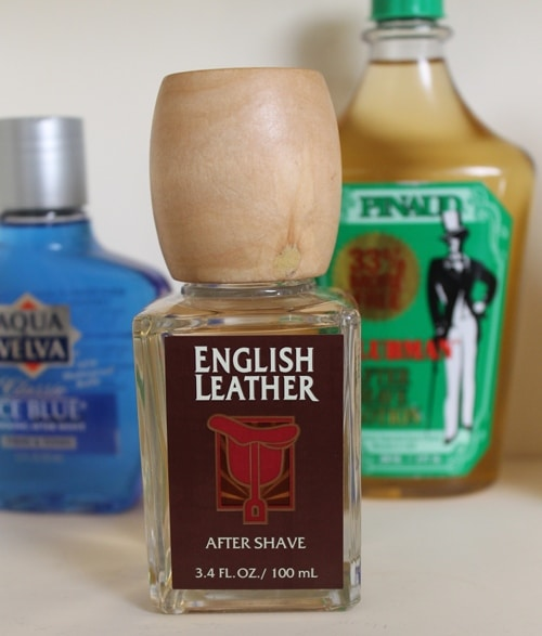 english leather after shave bottle with wooden knob