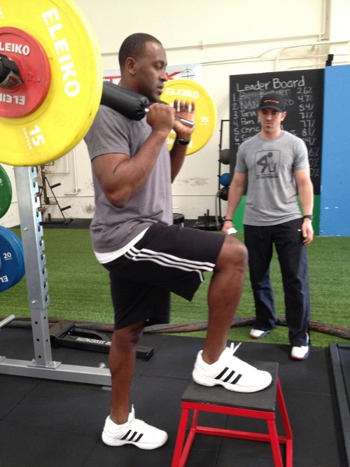Brad Davidson giving training to MLB player Gary Matthews jr.