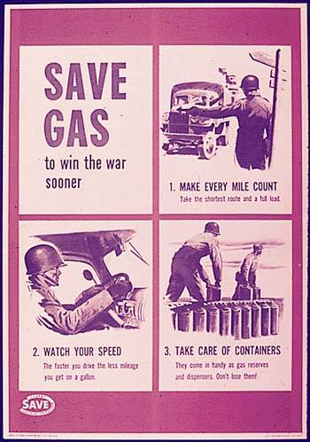 Save gas war propaganda poster.