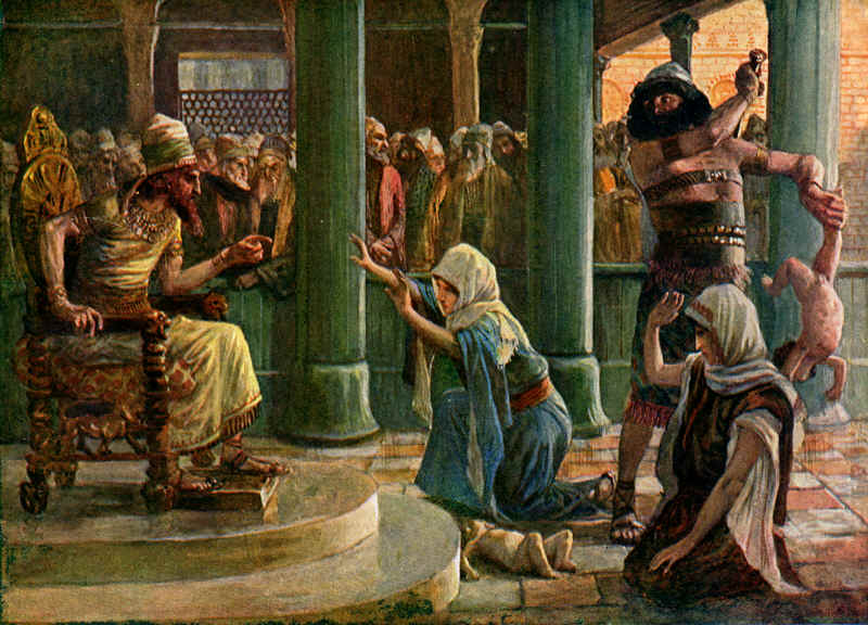 King Solomon giving justice to begging woman illustration.