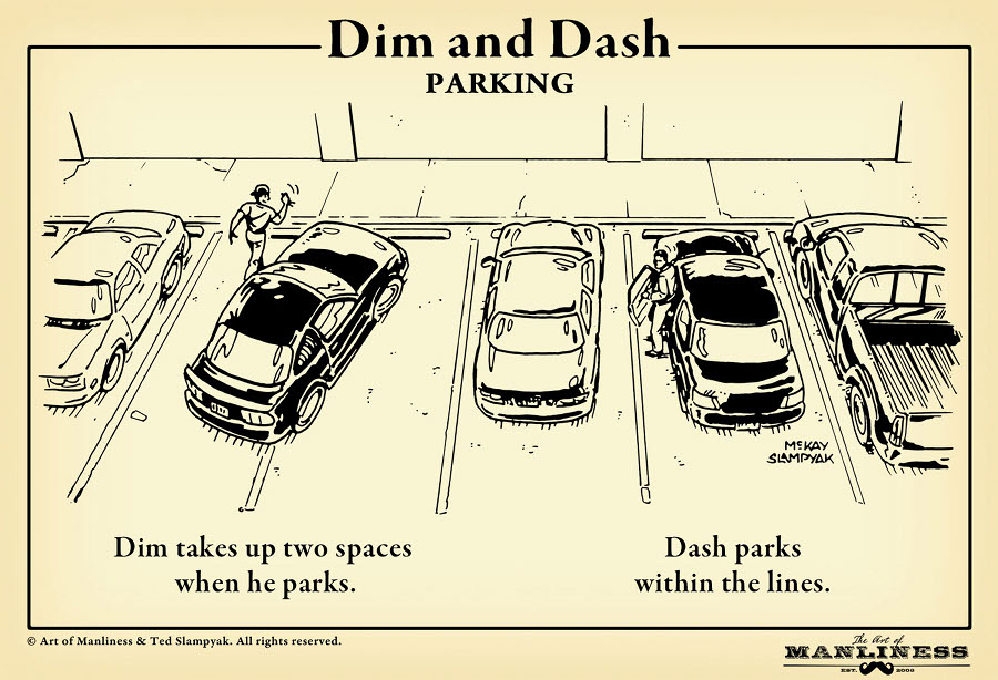 parking lot etiquette illustration drawing