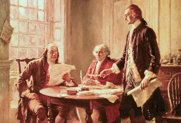 Benjamin franklin at table with men discussing papers painting.