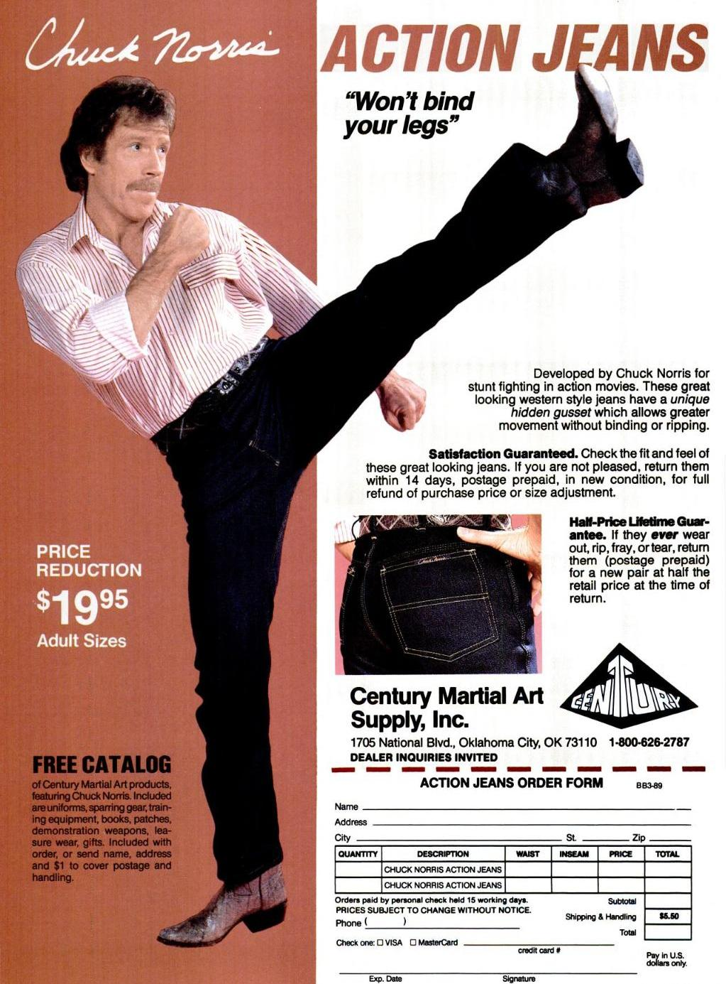 Poster of vintage Chuck Norris in Action Jeans.