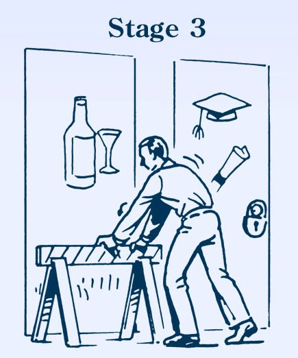 Man putting barrier up to drinking illustration.