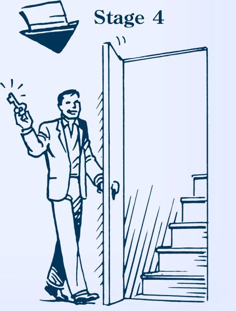 Man opening door to stairway illustration.
