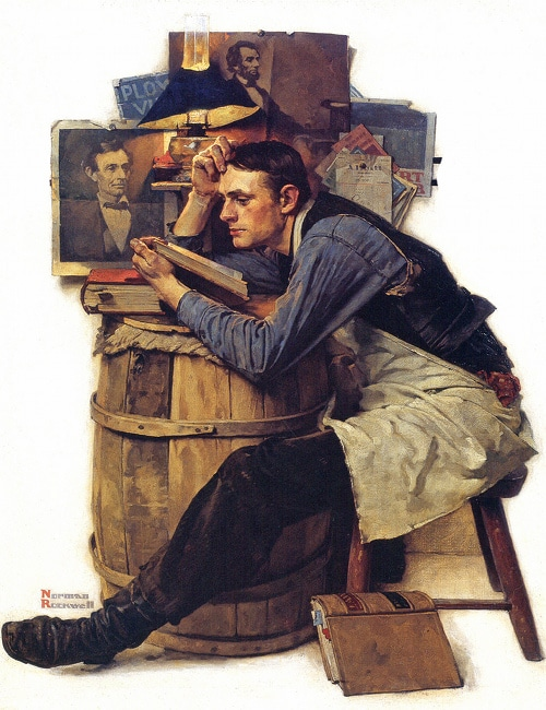 man in apron reading books over barrel painting illustration