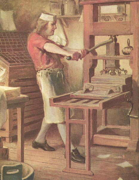 Young benjamin franklin printer working machine painting.