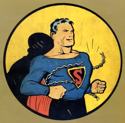Superman breaking the chains from chest illustration.