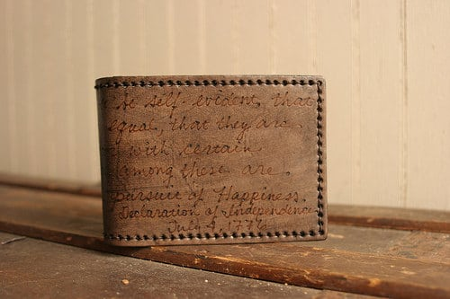 handmade billfold with engraved quote declaration of independence