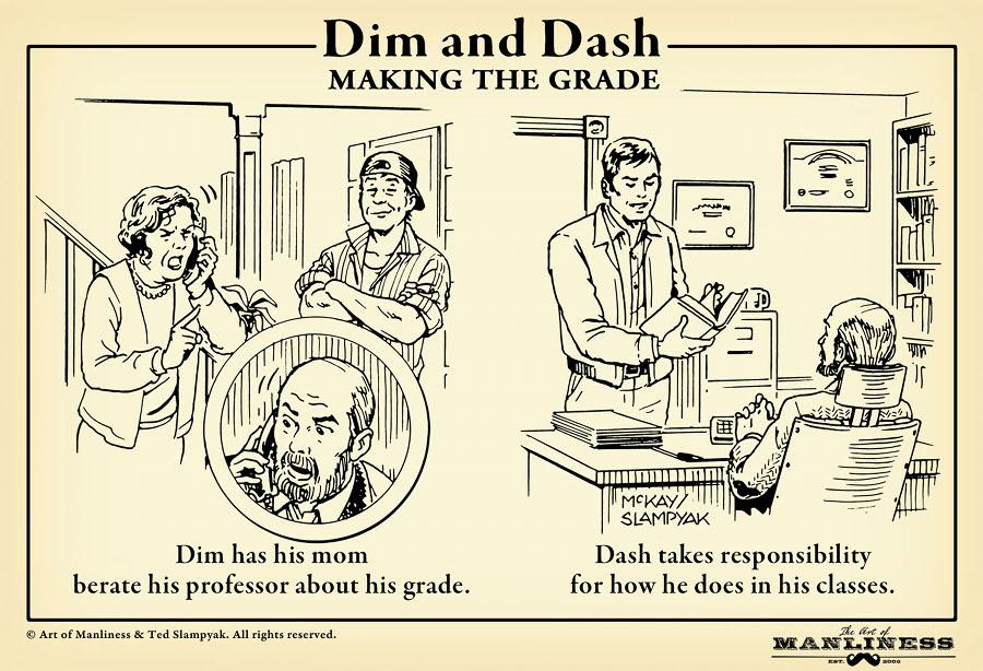 College student grades etiquette illustration.