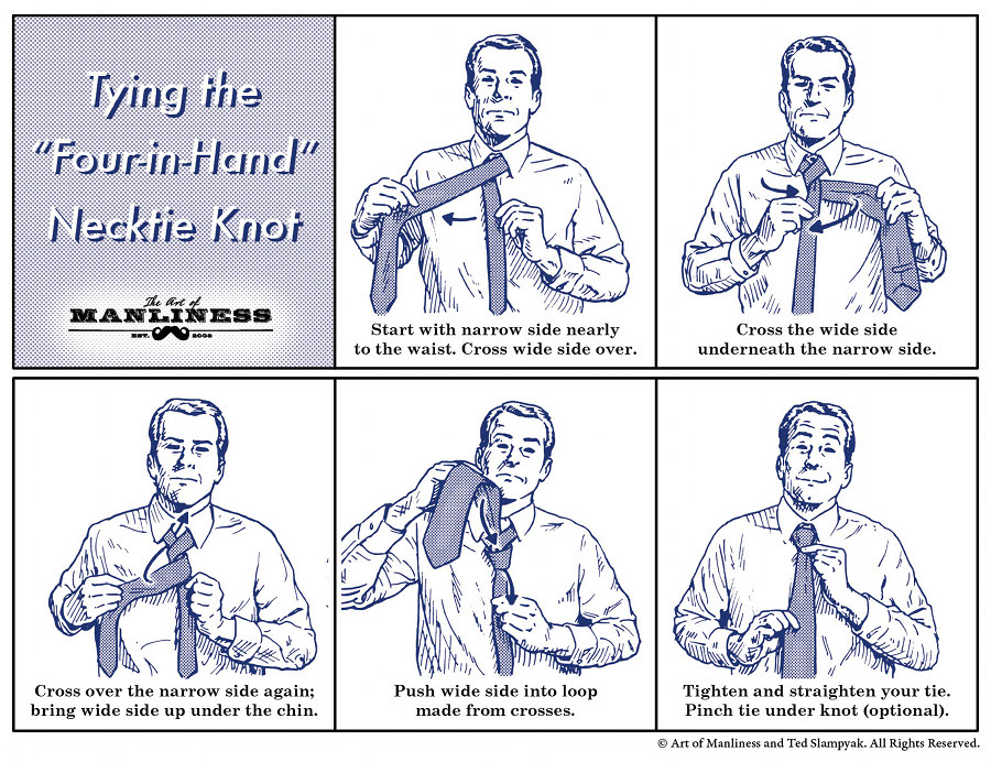 foud in hand necktie knot instructions illustration