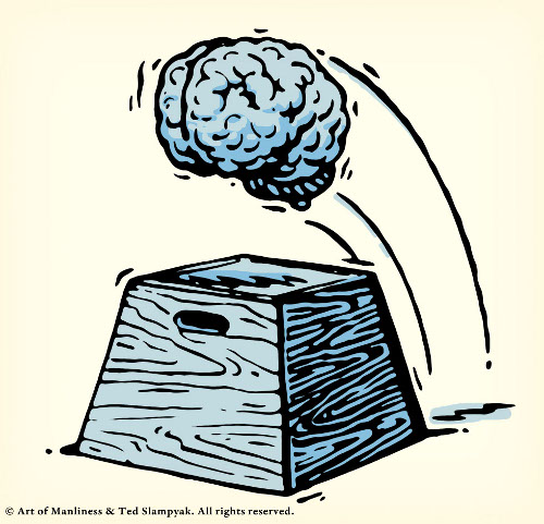 brain leaping over plyo plyometrics box illustration