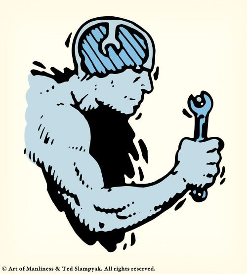 Man holding tool wrench in hand illustration.
