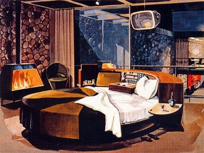 vintage bachelor pad apartment round bed illustration