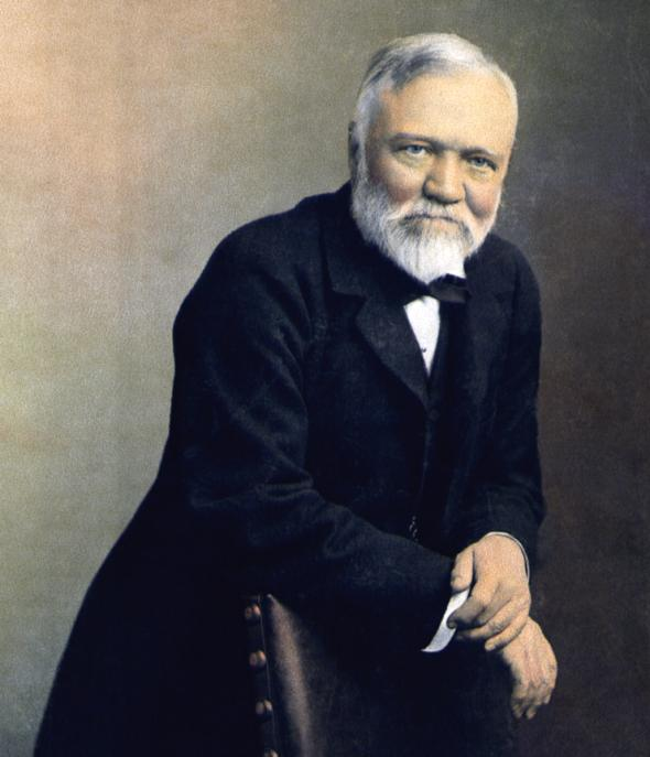 andrew carnegie portrait painting leaning over chair