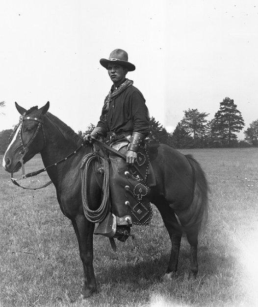 Vintage horse rider portrait.