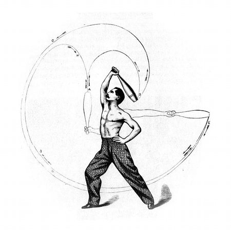 Illustration from The Indian Club Exercise, by Sam Kehoe, 1866