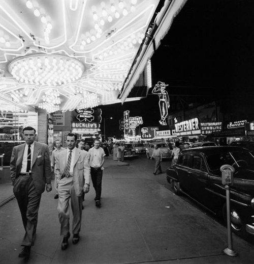 Vintage men sidewalk in mall.