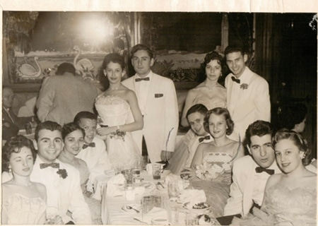 vintage prom group high school couples white tuxedos