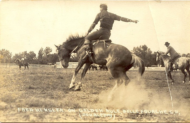 Vintage horsemen giving pose with running horses.